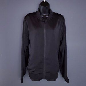 ALFRED SUNG Fall Jacket Coat Silky Bomber Black L